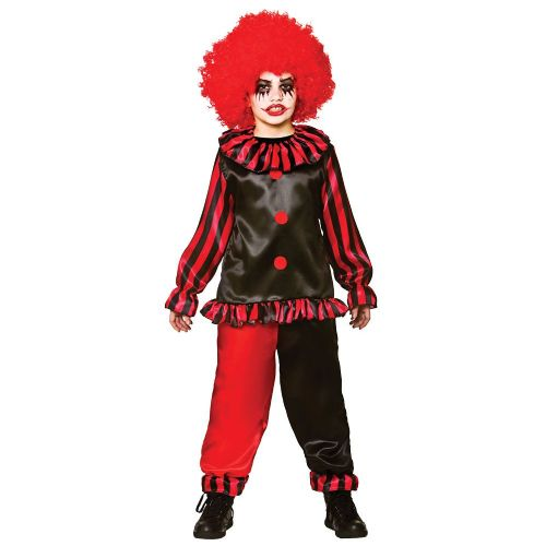 Childrens Boys Evil Clown Costume for Nasty Wicked Villian Fancy Dress